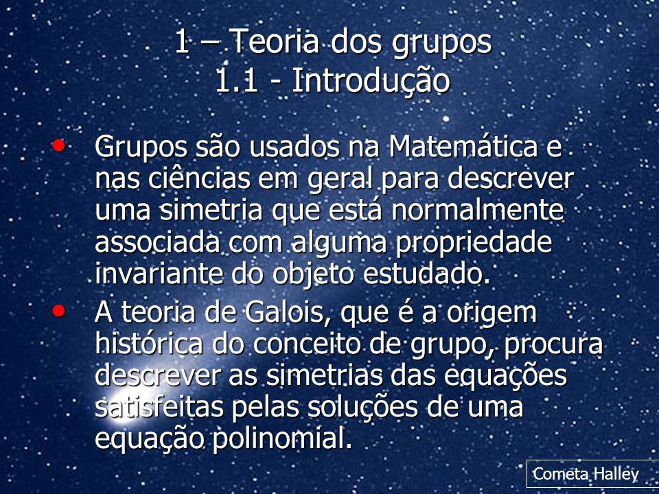 1 – Teoria dos grupos 1.1 - Introdução
