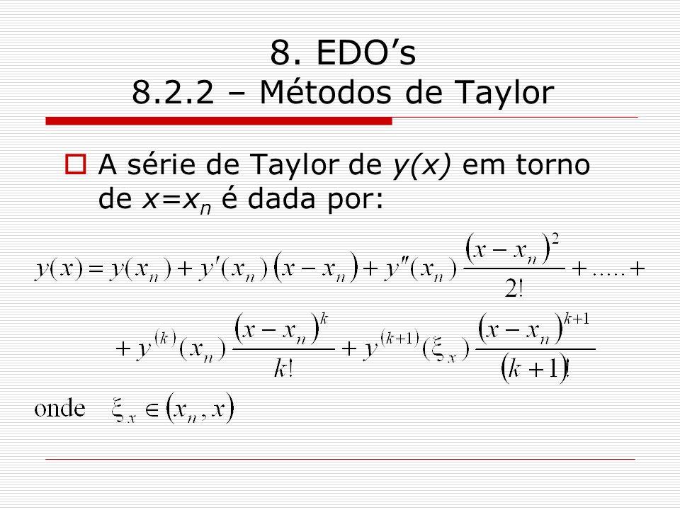 8. EDO's 8.2.2 – Métodos de Taylor