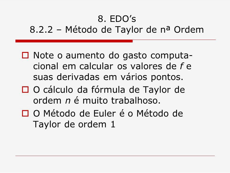 8. EDO's 8.2.2 – Método de Taylor de nª Ordem