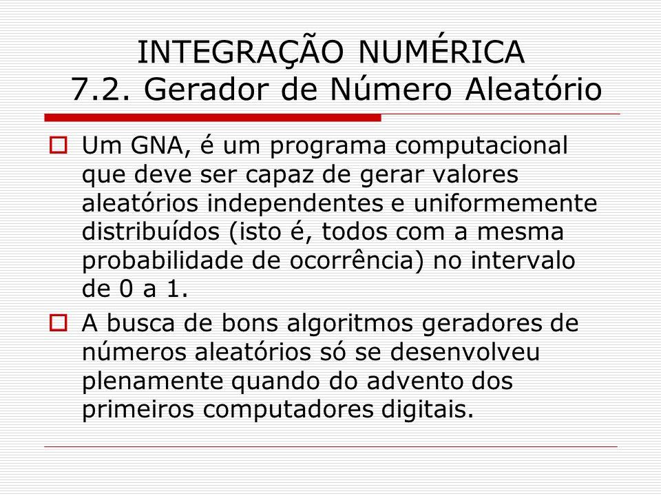 INTEGRAÇÃO NUMÉRICA 7.2. Gerador de Número Aleatório