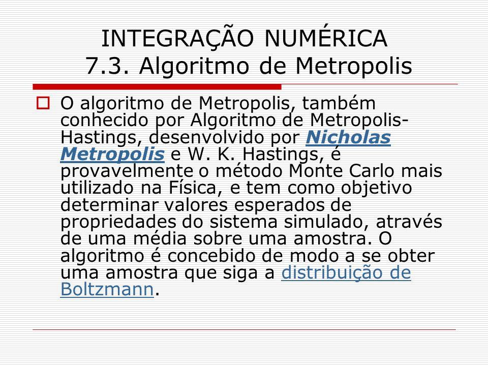 INTEGRAÇÃO NUMÉRICA 7.3. Algoritmo de Metropolis