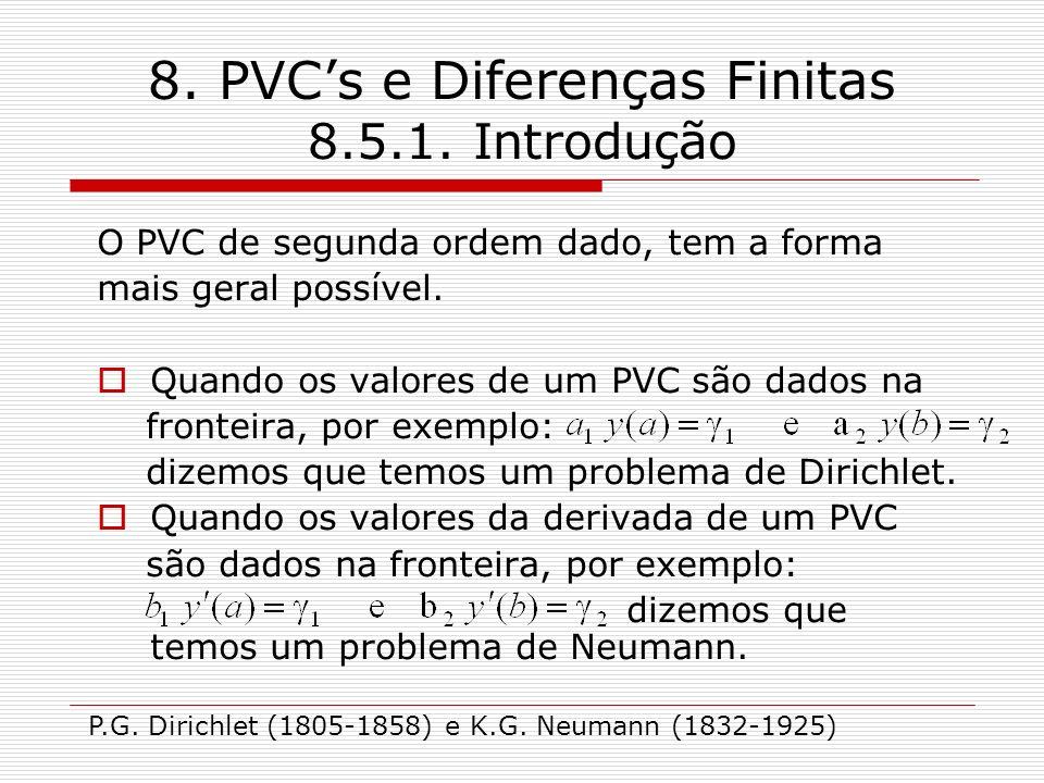 8. PVC's e Diferenças Finitas 8.5.1. Introdução