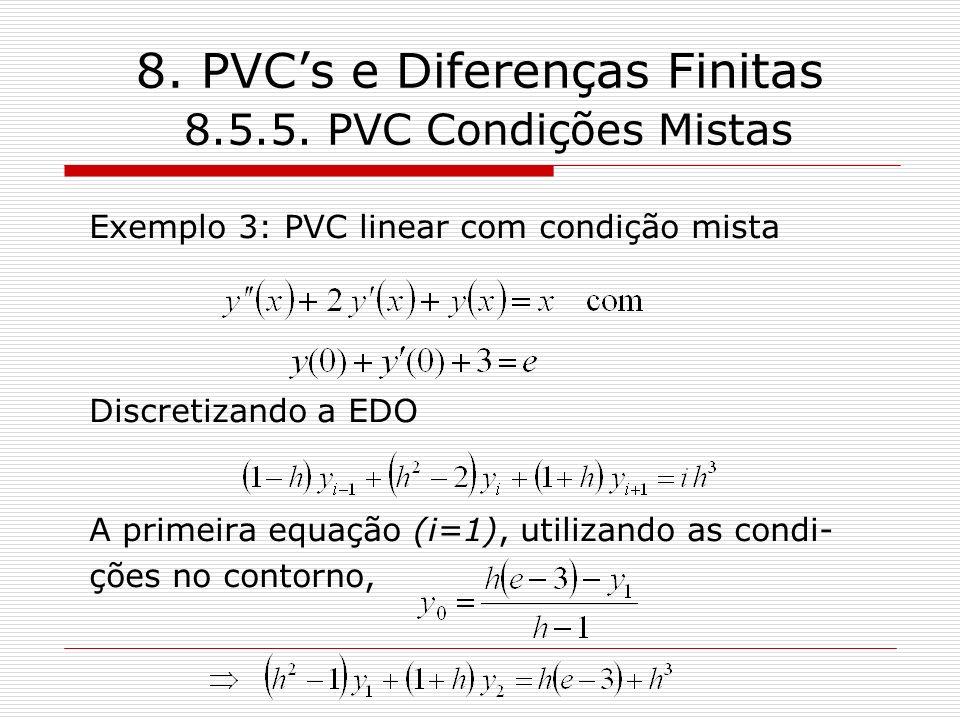 8. PVC's e Diferenças Finitas 8.5.5. PVC Condições Mistas