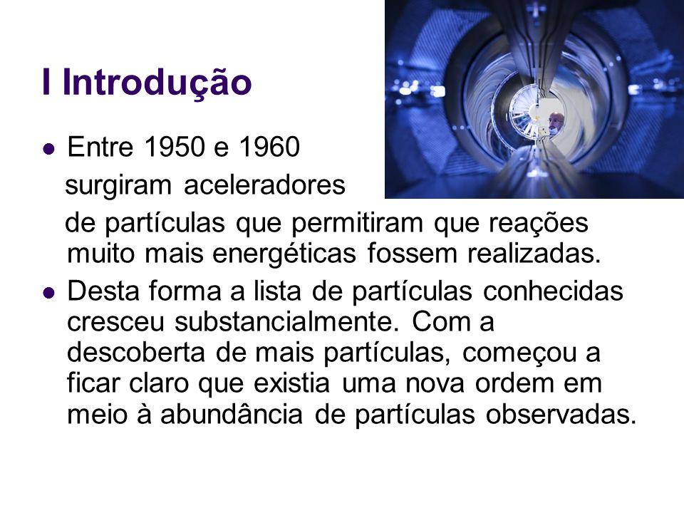 I Introdução Entre 1950 e 1960 surgiram aceleradores