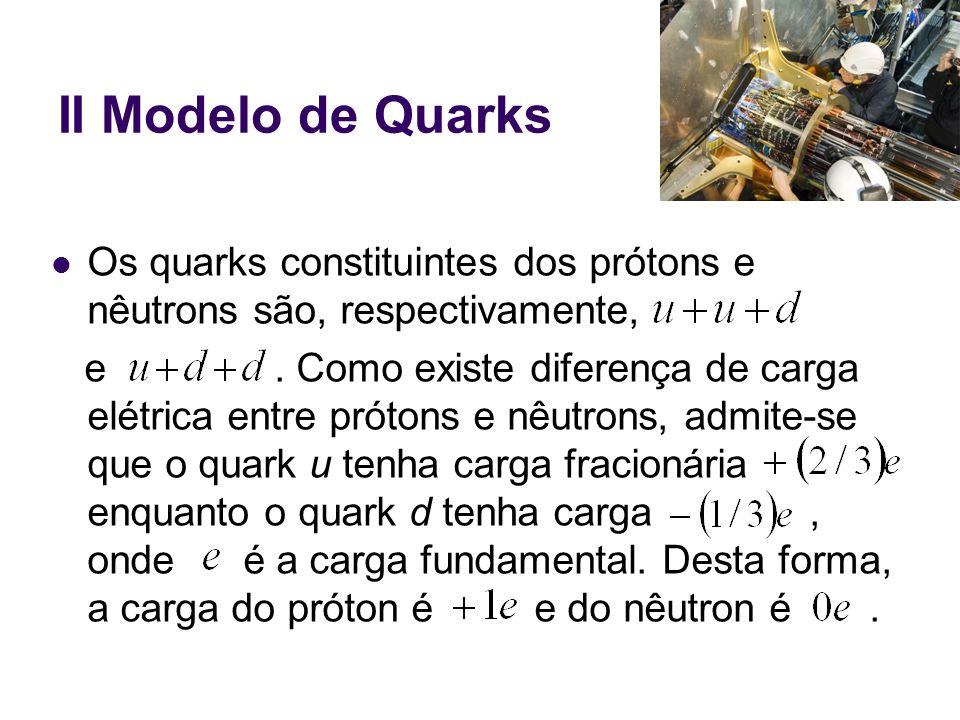 II Modelo de Quarks Os quarks constituintes dos prótons e nêutrons são, respectivamente,
