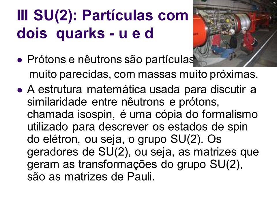 III SU(2): Partículas com dois quarks - u e d