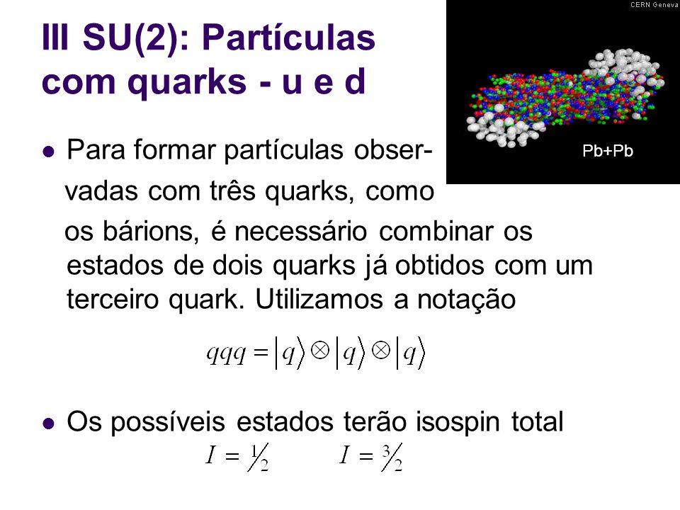 III SU(2): Partículas com quarks - u e d