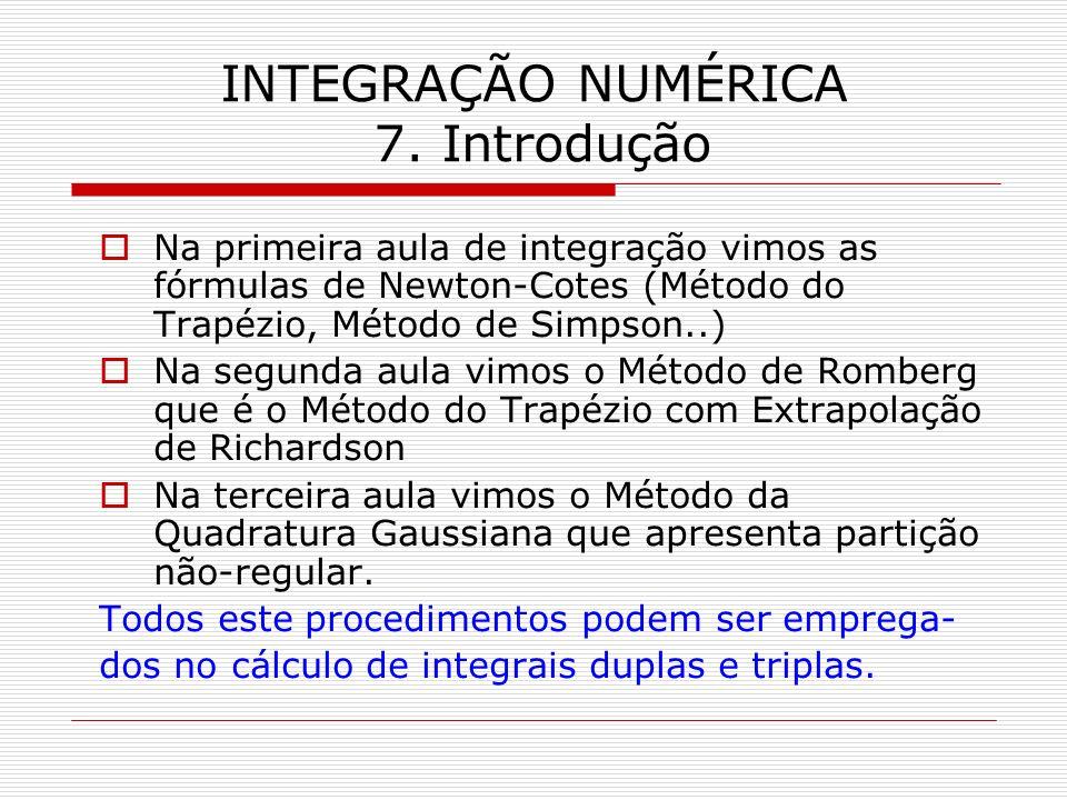 INTEGRAÇÃO NUMÉRICA 7. Introdução