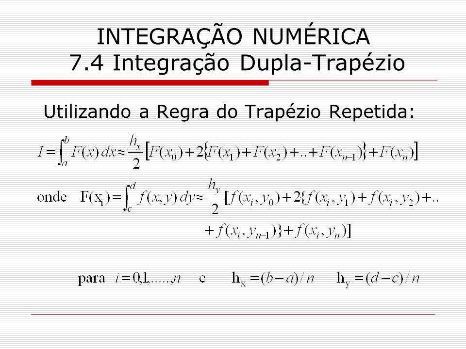 INTEGRAÇÃO NUMÉRICA 7.4 Integração Dupla-Trapézio