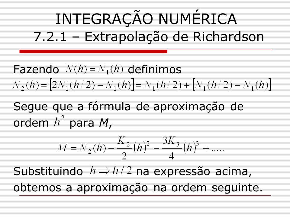 INTEGRAÇÃO NUMÉRICA 7.2.1 – Extrapolação de Richardson