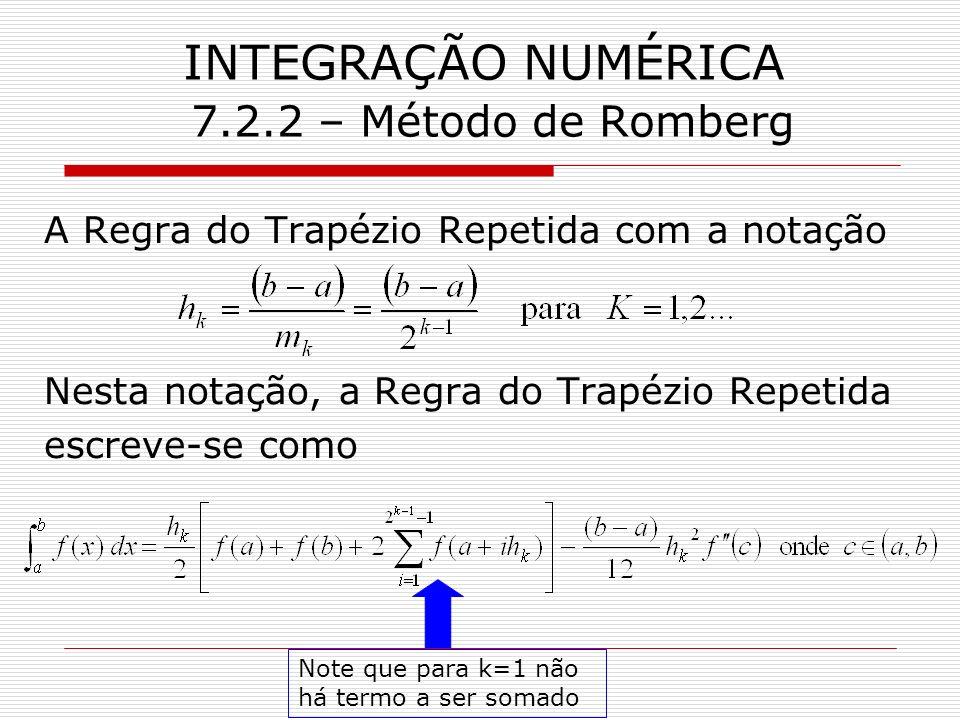 INTEGRAÇÃO NUMÉRICA 7.2.2 – Método de Romberg