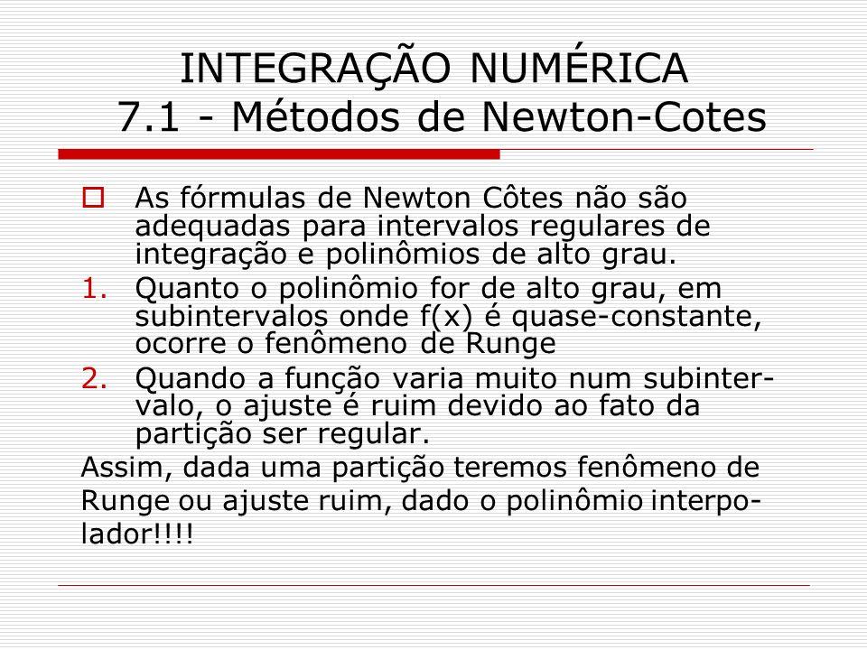 INTEGRAÇÃO NUMÉRICA 7.1 - Métodos de Newton-Cotes
