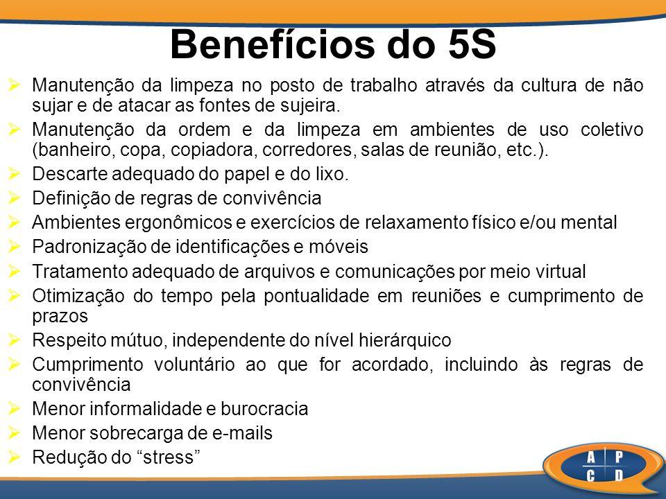 Benefícios do 5S Manutenção da limpeza no posto de trabalho através da cultura de não sujar e de atacar as fontes de sujeira.