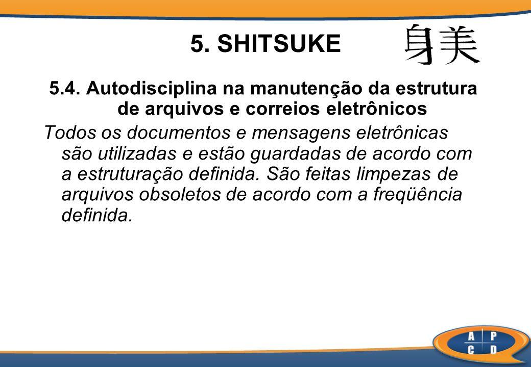 5. SHITSUKE 5.4. Autodisciplina na manutenção da estrutura de arquivos e correios eletrônicos.