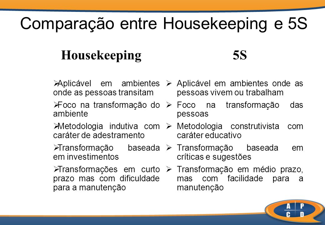 Comparação entre Housekeeping e 5S