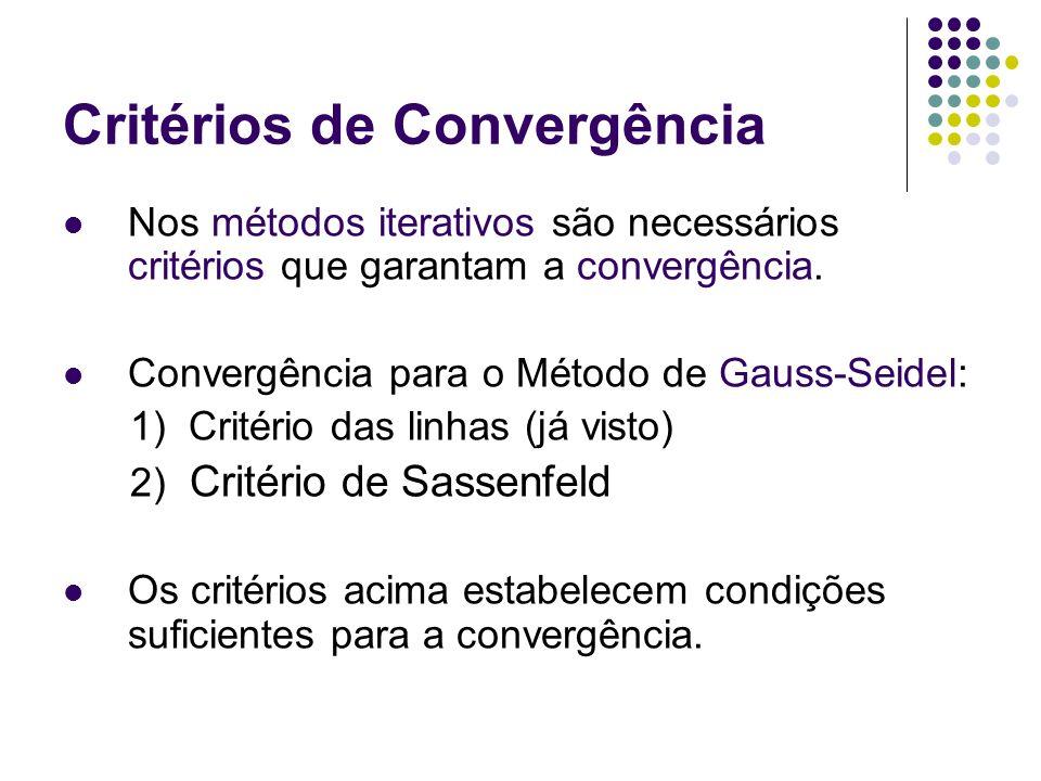 Critérios de Convergência