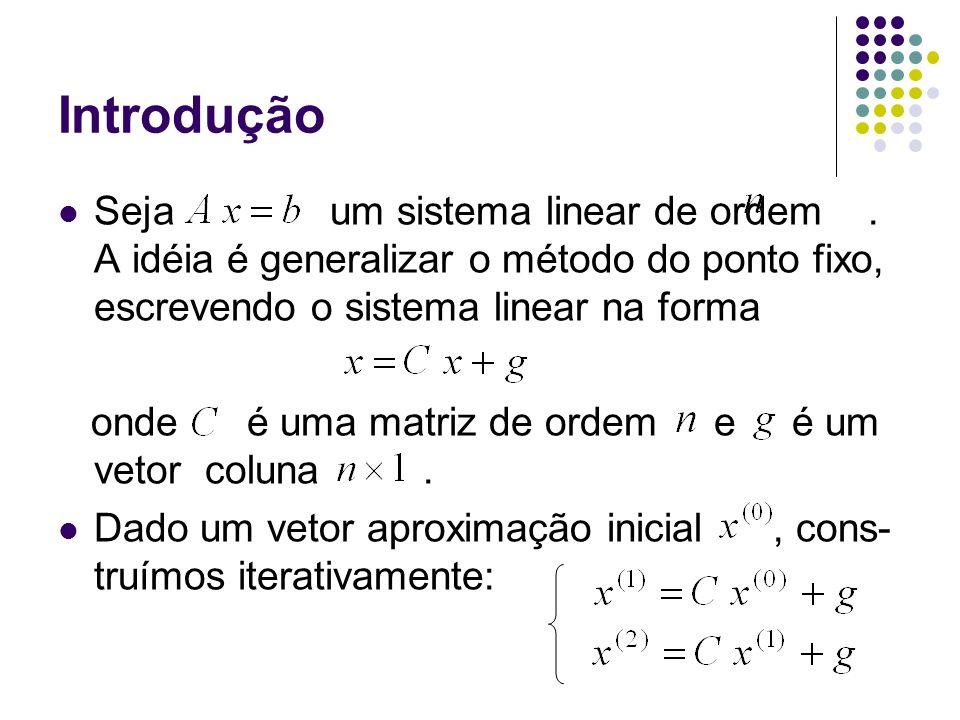 IntroduçãoSeja um sistema linear de ordem . A idéia é generalizar o método do ponto fixo, escrevendo o sistema linear na forma.