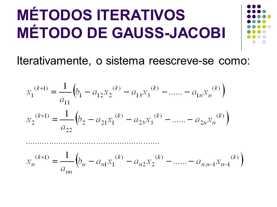MÉTODOS ITERATIVOS MÉTODO DE GAUSS-JACOBI