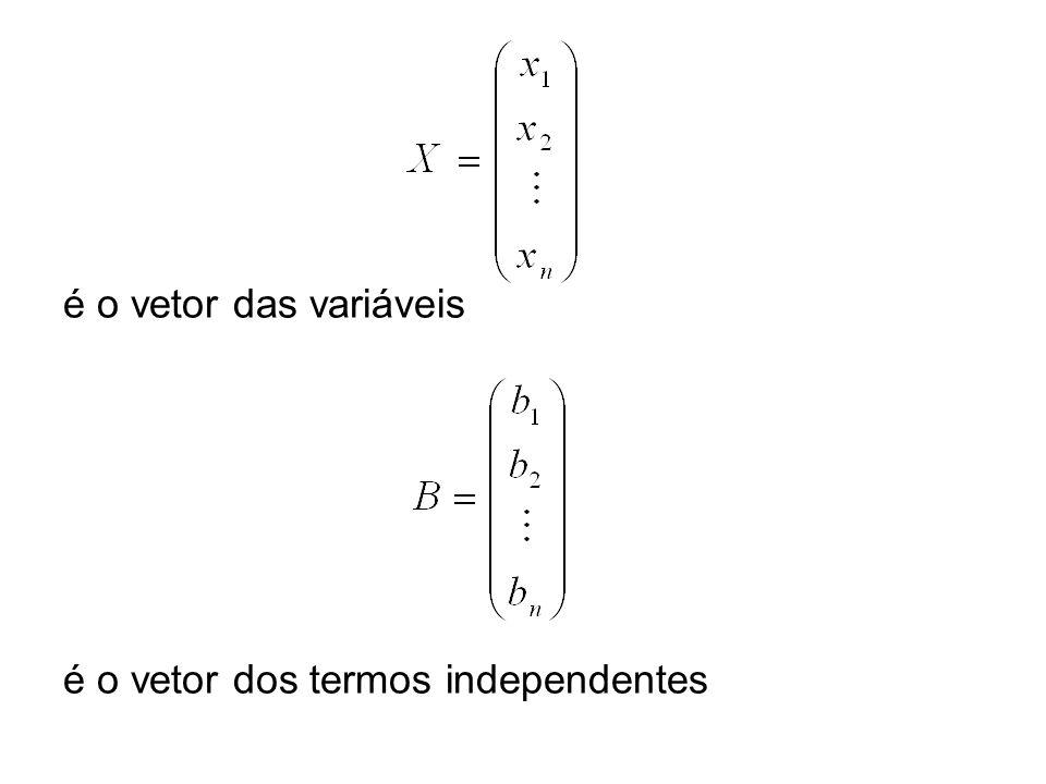 é o vetor das variáveis é o vetor dos termos independentes