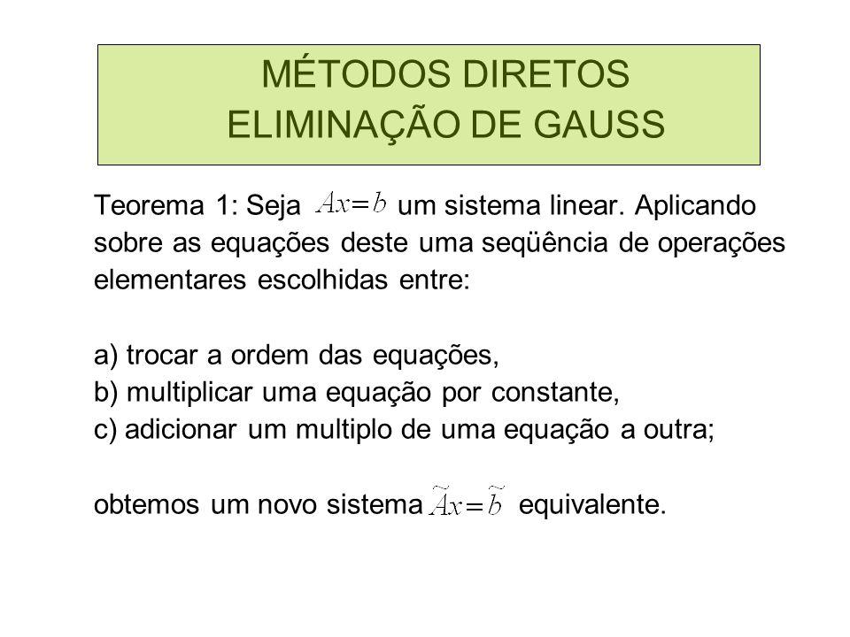 MÉTODOS DIRETOS ELIMINAÇÃO DE GAUSS