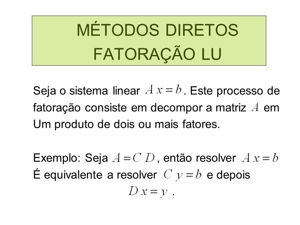MÉTODOS DIRETOS FATORAÇÃO LU Seja o sistema linear . Este processo de