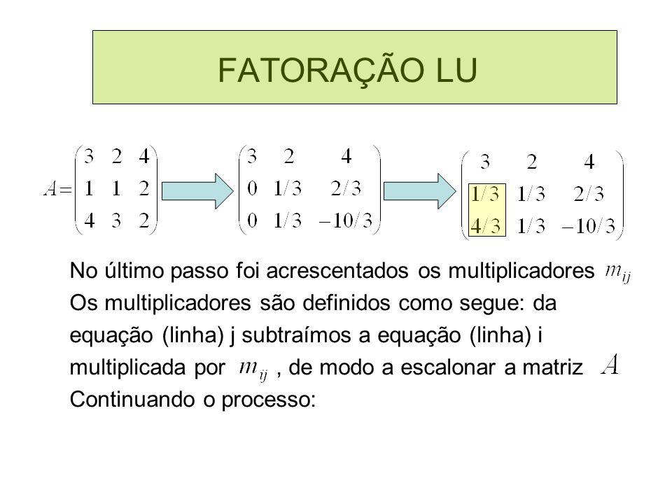 FATORAÇÃO LU No último passo foi acrescentados os multiplicadores