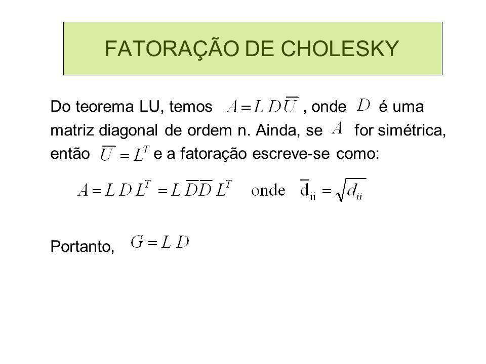 FATORAÇÃO DE CHOLESKY Do teorema LU, temos , onde é uma