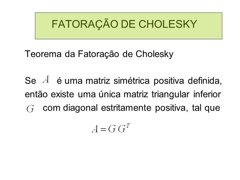 FATORAÇÃO DE CHOLESKY Teorema da Fatoração de Cholesky