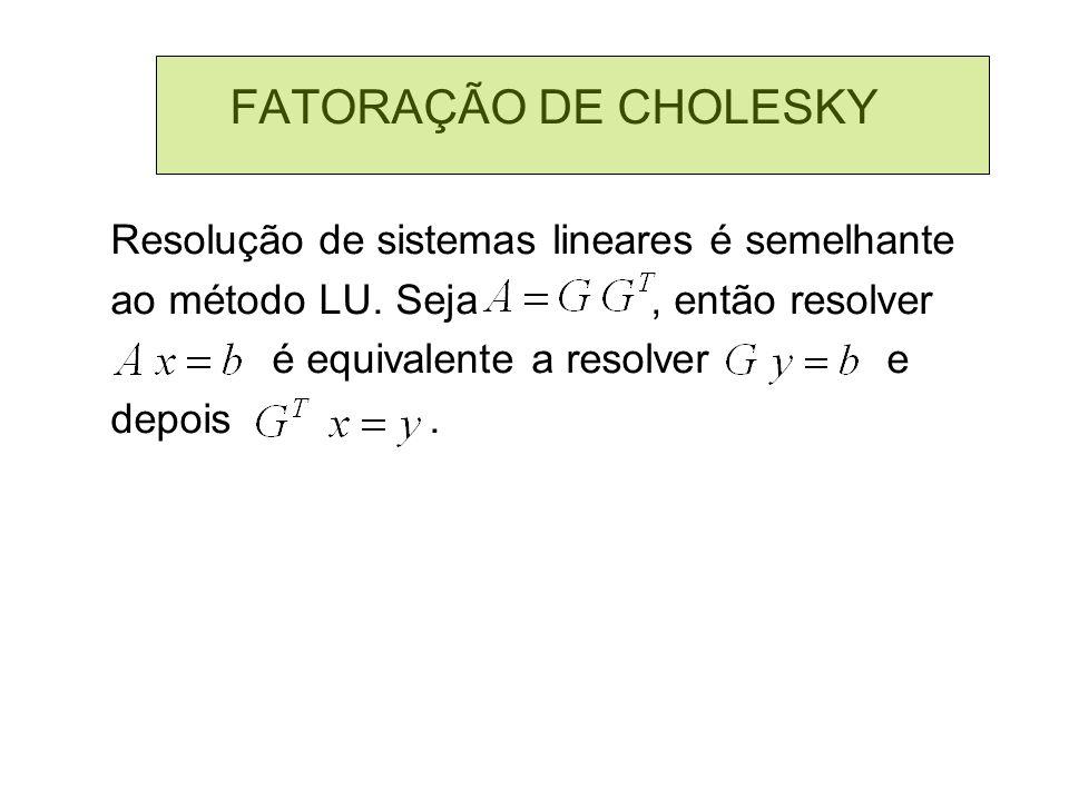 FATORAÇÃO DE CHOLESKY Resolução de sistemas lineares é semelhante
