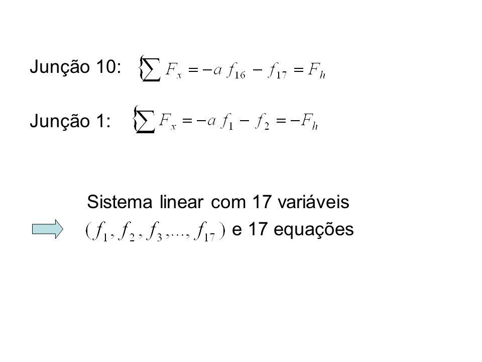 Junção 10: Junção 1: Sistema linear com 17 variáveis e 17 equações