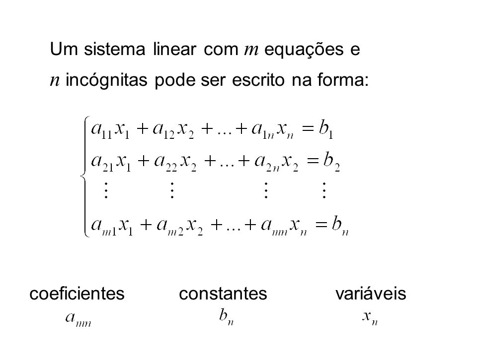 Um sistema linear com m equações e