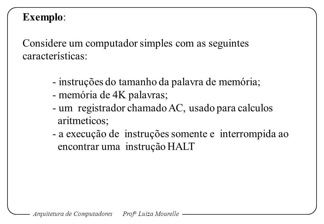 Exemplo:Considere um computador simples com as seguintes características: - instruções do tamanho da palavra de memória;