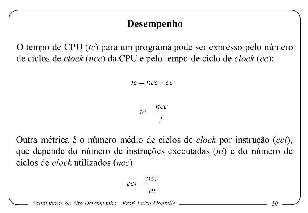 Desempenho O tempo de CPU (tc) para um programa pode ser expresso pelo número de ciclos de clock (ncc) da CPU e pelo tempo de ciclo de clock (cc):