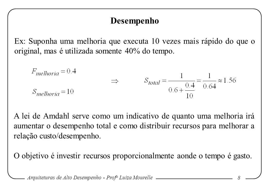 Desempenho Ex: Suponha uma melhoria que executa 10 vezes mais rápido do que o original, mas é utilizada somente 40% do tempo.