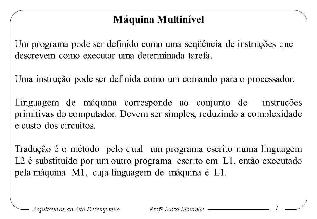 Máquina Multinível Um programa pode ser definido como uma seqüência de instruções que descrevem como executar uma determinada tarefa.