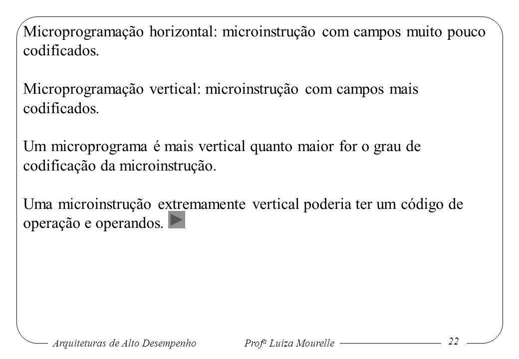 Microprogramação horizontal: microinstrução com campos muito pouco codificados.
