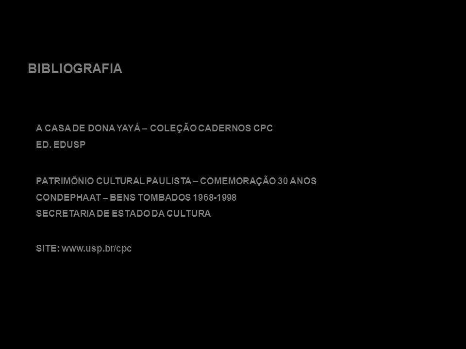 BIBLIOGRAFIA A CASA DE DONA YAYÁ – COLEÇÃO CADERNOS CPC ED. EDUSP