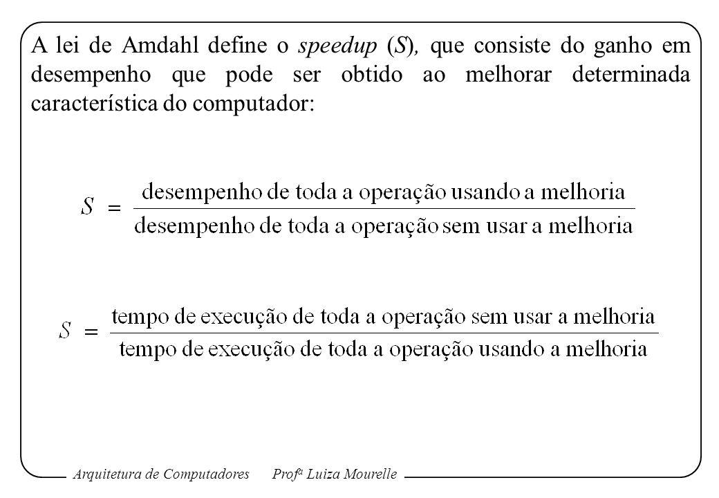A lei de Amdahl define o speedup (S), que consiste do ganho em desempenho que pode ser obtido ao melhorar determinada característica do computador: