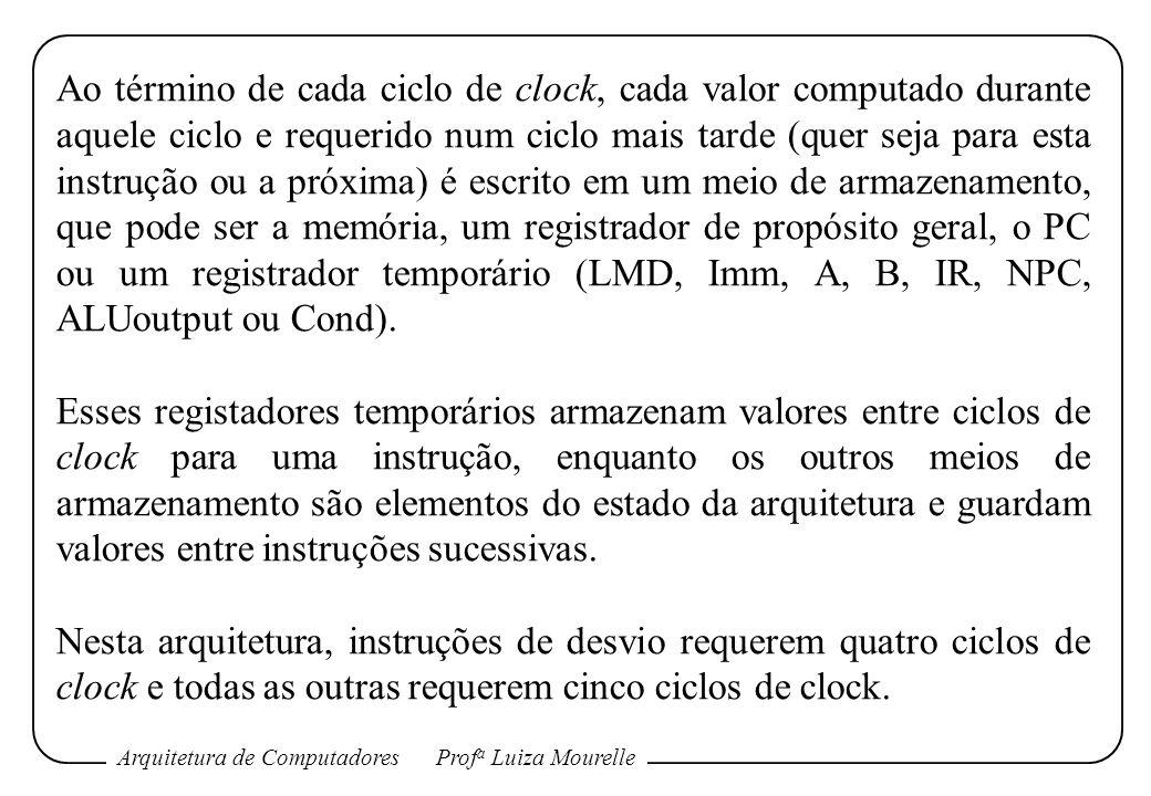 Ao término de cada ciclo de clock, cada valor computado durante aquele ciclo e requerido num ciclo mais tarde (quer seja para esta instrução ou a próxima) é escrito em um meio de armazenamento, que pode ser a memória, um registrador de propósito geral, o PC ou um registrador temporário (LMD, Imm, A, B, IR, NPC, ALUoutput ou Cond).