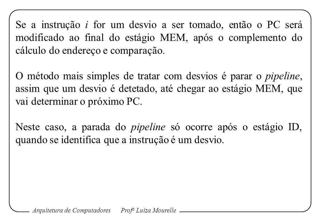 Se a instrução i for um desvio a ser tomado, então o PC será modificado ao final do estágio MEM, após o complemento do cálculo do endereço e comparação.