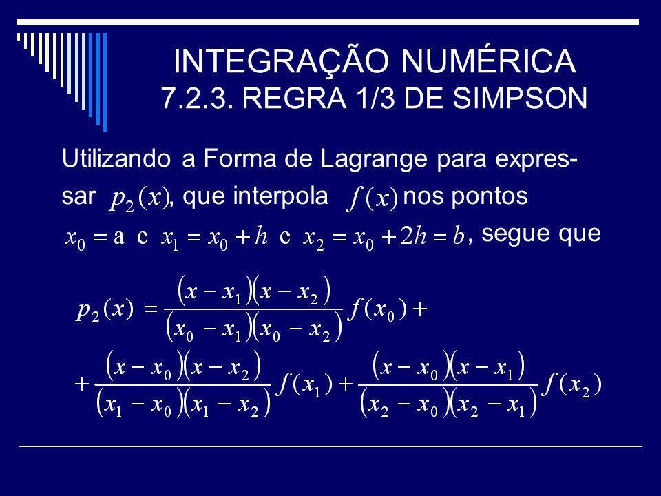 INTEGRAÇÃO NUMÉRICA 7.2.3. REGRA 1/3 DE SIMPSON