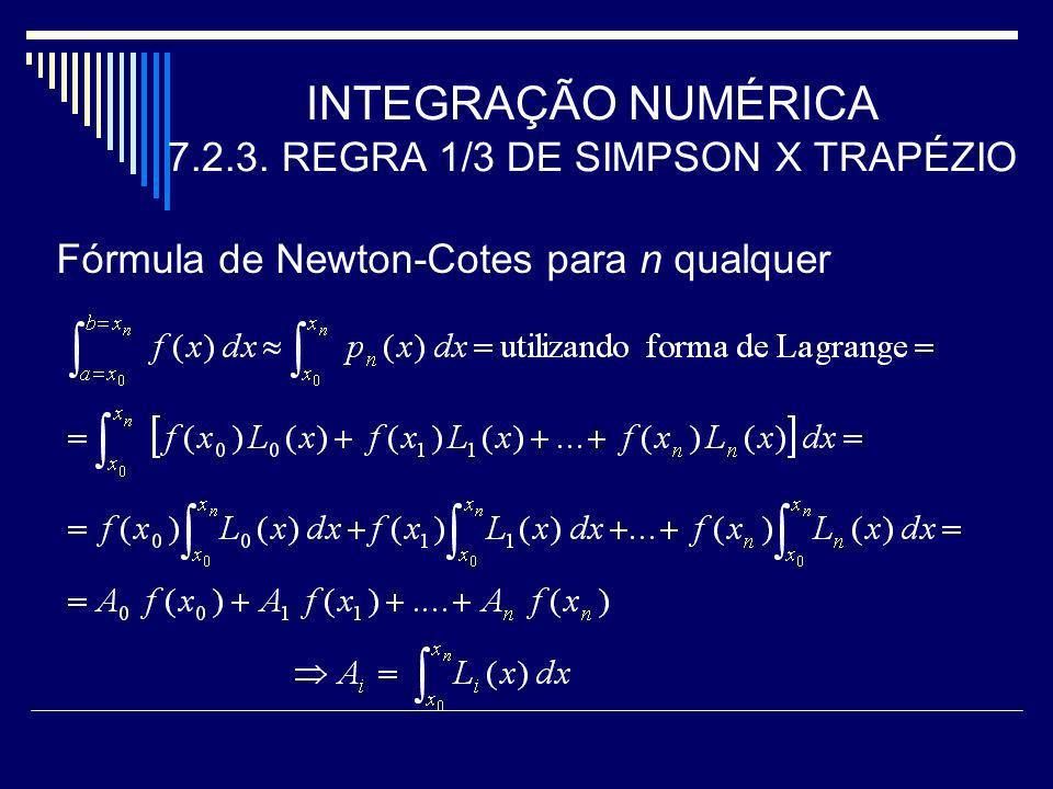 INTEGRAÇÃO NUMÉRICA 7.2.3. REGRA 1/3 DE SIMPSON X TRAPÉZIO