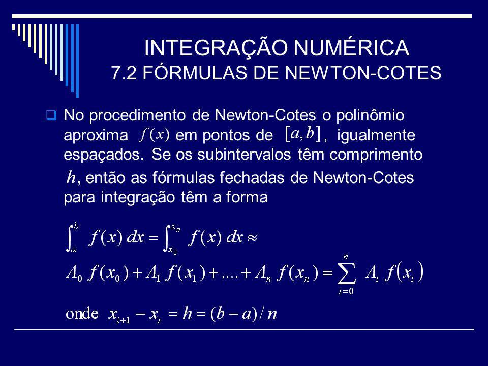 INTEGRAÇÃO NUMÉRICA 7.2 FÓRMULAS DE NEWTON-COTES
