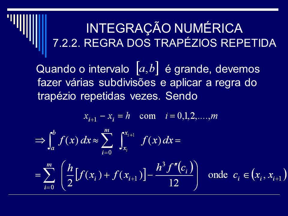 INTEGRAÇÃO NUMÉRICA 7.2.2. REGRA DOS TRAPÉZIOS REPETIDA