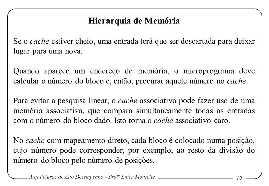 Hierarquia de Memória Se o cache estiver cheio, uma entrada terá que ser descartada para deixar lugar para uma nova.