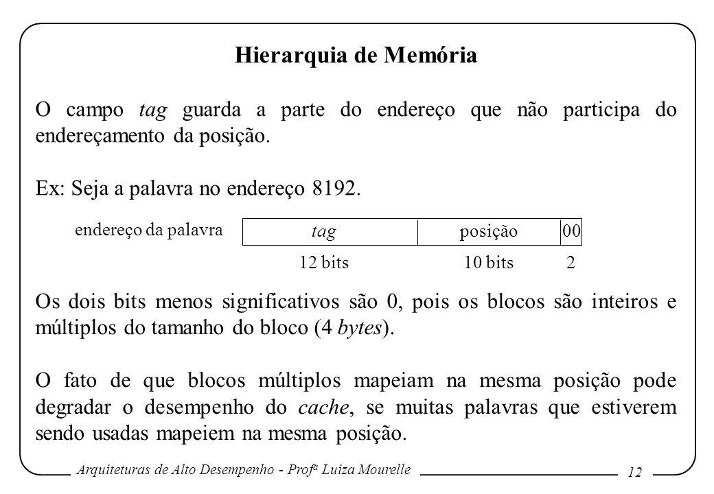 Hierarquia de Memória O campo tag guarda a parte do endereço que não participa do endereçamento da posição.