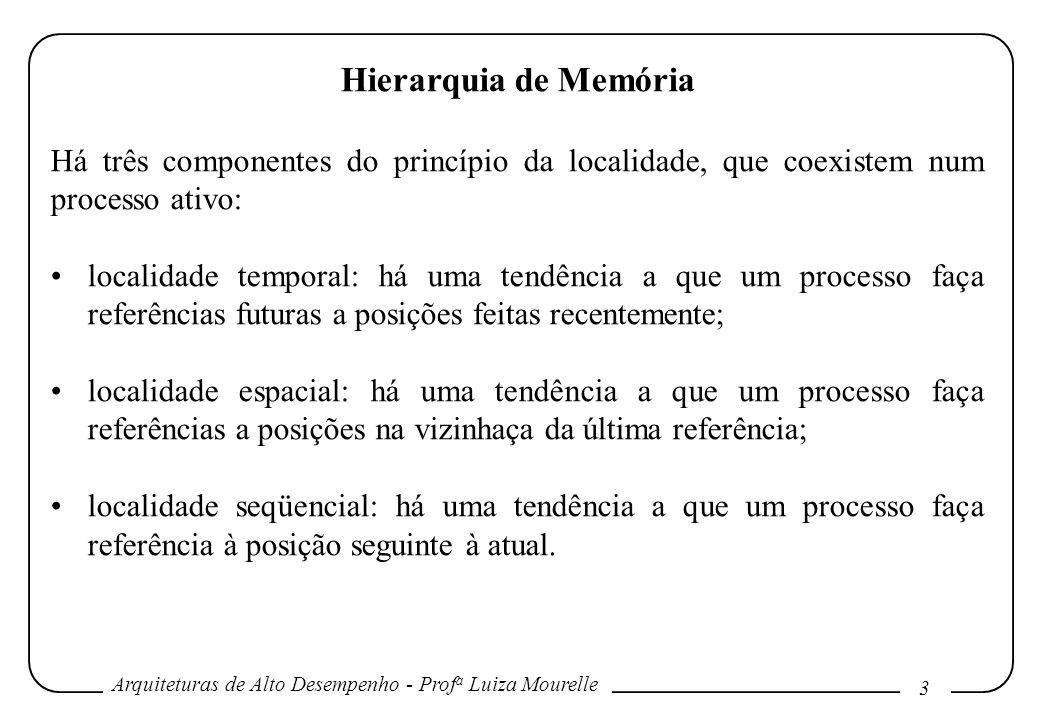 Hierarquia de Memória Há três componentes do princípio da localidade, que coexistem num processo ativo: