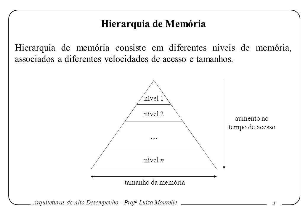 Hierarquia de Memória Hierarquia de memória consiste em diferentes níveis de memória, associados a diferentes velocidades de acesso e tamanhos.