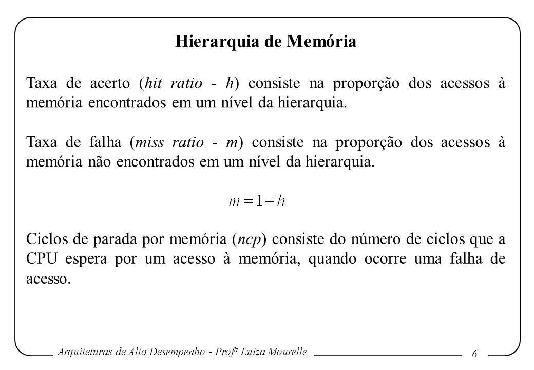 Hierarquia de MemóriaTaxa de acerto (hit ratio - h) consiste na proporção dos acessos à memória encontrados em um nível da hierarquia.