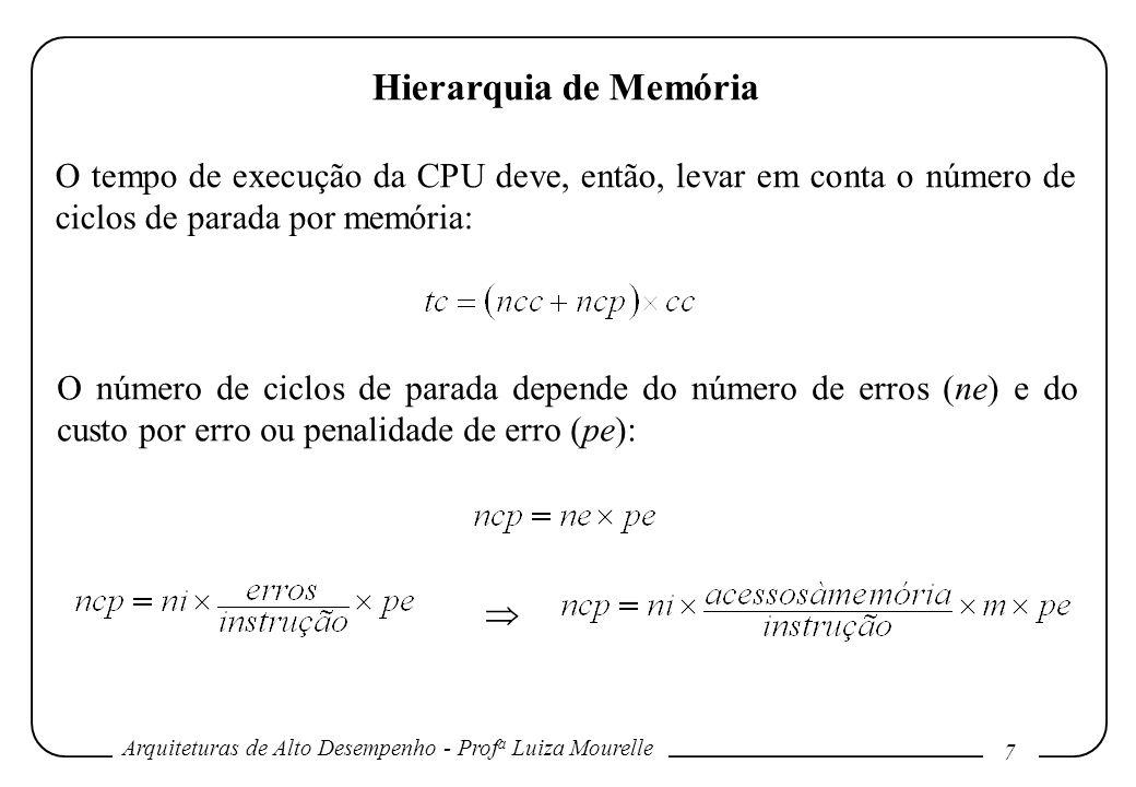 Hierarquia de Memória O tempo de execução da CPU deve, então, levar em conta o número de ciclos de parada por memória: